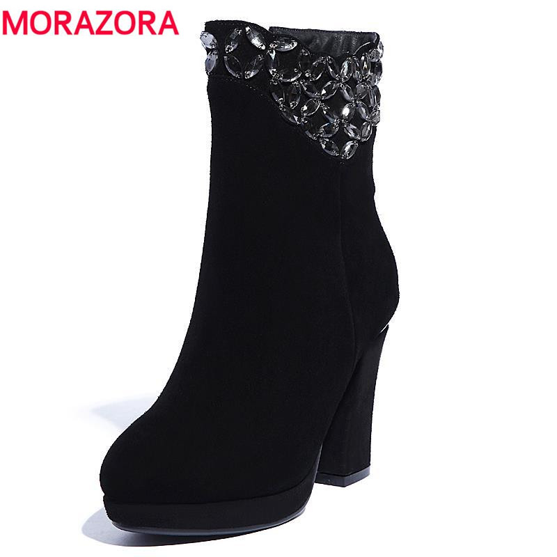 ФОТО 2017 hot unique sexy ankle for women zip round toe genuine leather boots with rhinestone platform high heels autumn winter shoes