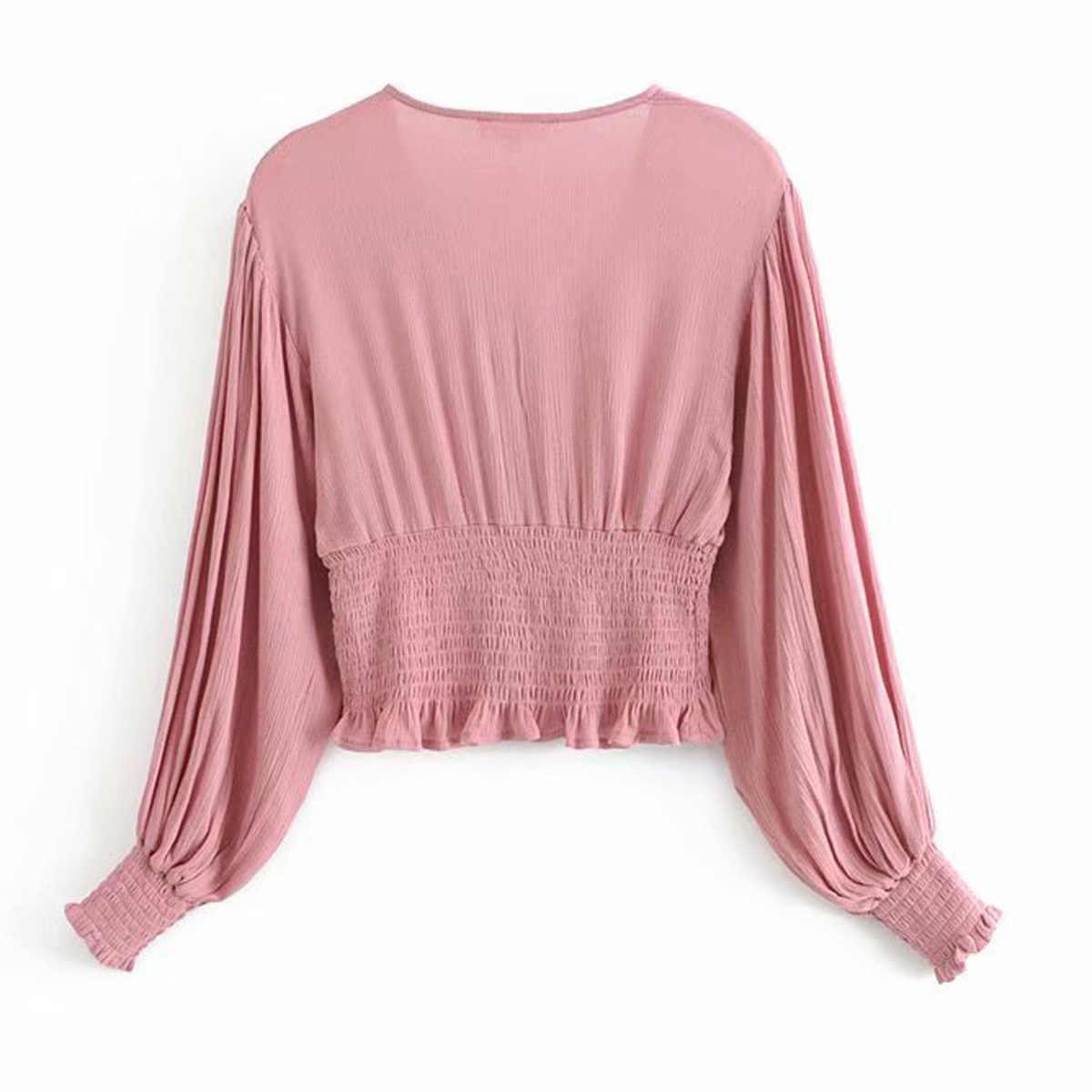 Jastie V ネックボタンクロップトップパフ自由奔放に生きるブラウスシャツ 2018 夏シャツトップフリルウエストスリム女性シャツブラウスプルオーバー