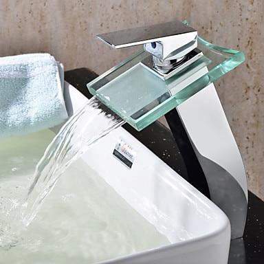 Bathroom Sink Faucet  Glass Water Basin Tap For Bathroom,Torneira Para De Banheiro color changing led water tap for bathroom sink basin faucet single handle torneira para de banheiro modocomando