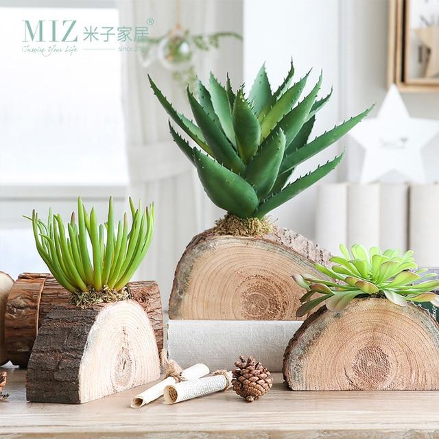 Miz 1 Piece Artificial Plants Home Garden Accessories Succulent On Wood  Stake Artificial Succulent Plants For