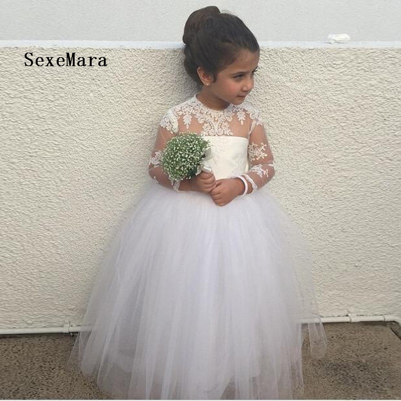 Adorable Long Sleeve Flower Girl Dress For Wedding Ball Gown Tulle Scoop Long Girls Communion Dresses sexy scoop neck long sleeve flower pattern see through dress for women