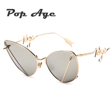 Pop Age New Luxury Cat Eye Sunglasses Women Metal Special Leg Eyeglasses Vintage Party Sun Glasses Occhiali da sole 400UV Shades