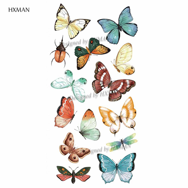 HXMAN Watercolor Butterfly Temporary Tattoo Sticker Waterproof Women Fake Tattoos Men Children Body Art Hot Design 9.8X6cm A-001 5