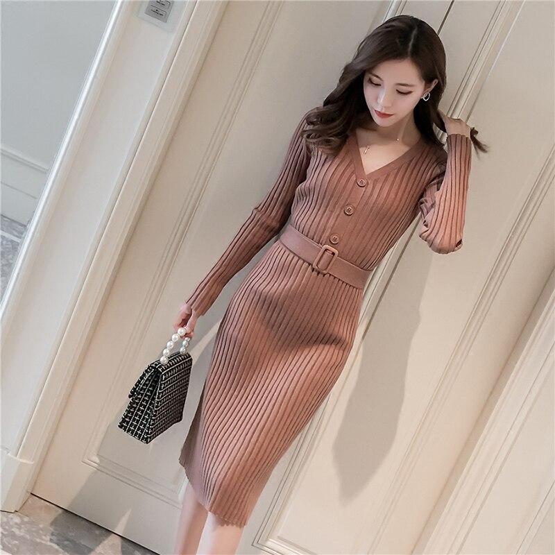 Femmes robe printemps automne mode tricot robe femme col en V slim longue robe femmes tricot fond robe hiver femme vêtements