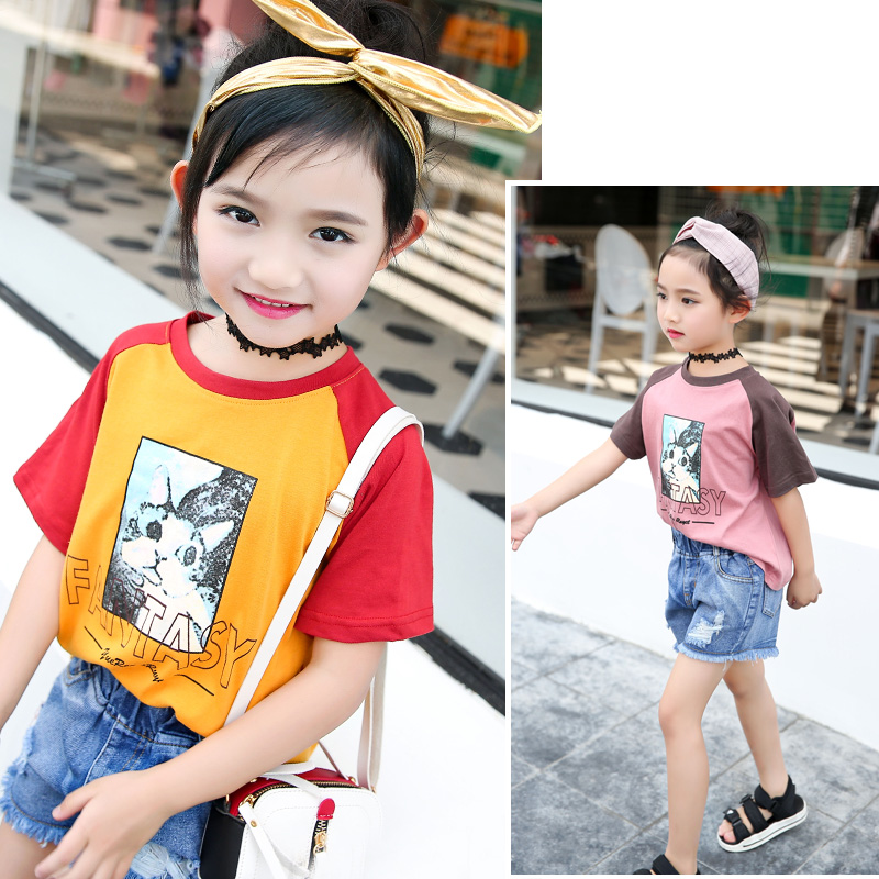 2018 New Arrival Punk Style T-shirts Summer Top O-neck Girls Clothes 10 12 Year Kids Tshirt Cartoon Teen Summer Clothing Costume