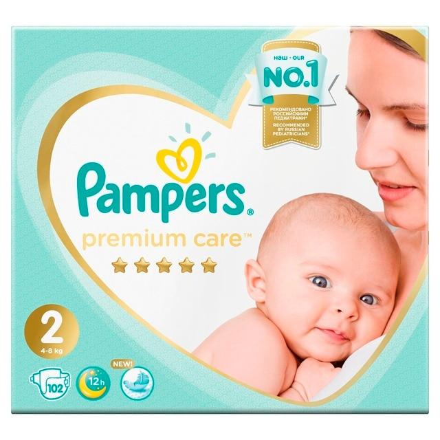 Подгузники Pampers Premium Care 4-8 кг, 2 размер, 102 шт..