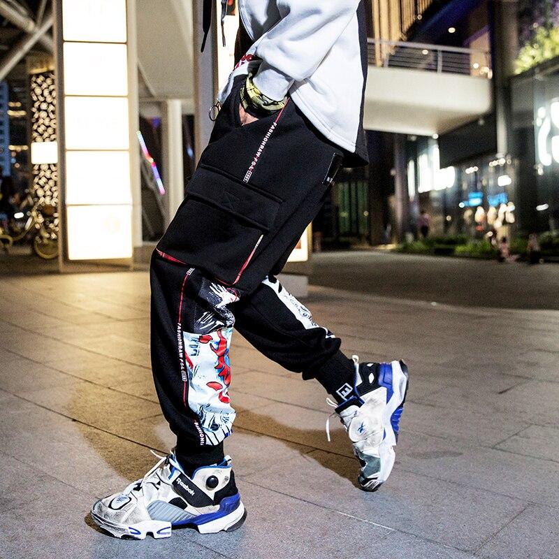 Los Algodón Invierno Casual Negro Streetwear 3d Hop Pantalones Harem Hombres De Hombre Aelfric Harajuku Chándal Graffiti Kj188 2018 Hip Ipqq8