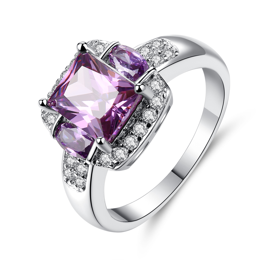 cinily created purple stone zirconia silver plated
