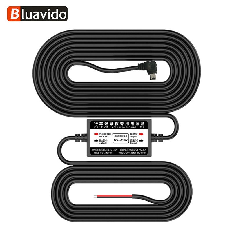 Bluavido 5V 2.5A <font><b>USB</b></font> 2.0 OBD Buck Line 24 Hours Parking Monitoring Continuous Power Supply For <font><b>Car</b></font> <font><b>DVR</b></font> Camera 3m <font><b>Cable</b></font> Length image