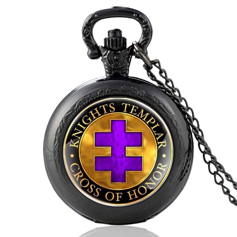 New Arrival Retro Knight Templar Quartz Pocket Watch Vintage Men Women Cross Of Honor Pendant Necklace Clck Gift