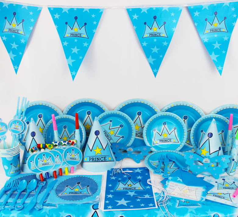 78pcs New Kids Birthday Party Decoration Set Prince Crown Theme Supplies Baby