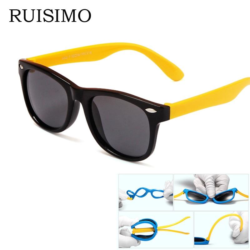 2017 marco de goma Nuevos Niños TAC gafas de Sol Polarizadas Niños Diseñador Shades Para Niñas Niños Goggle Gafas de Bebé gafas retro
