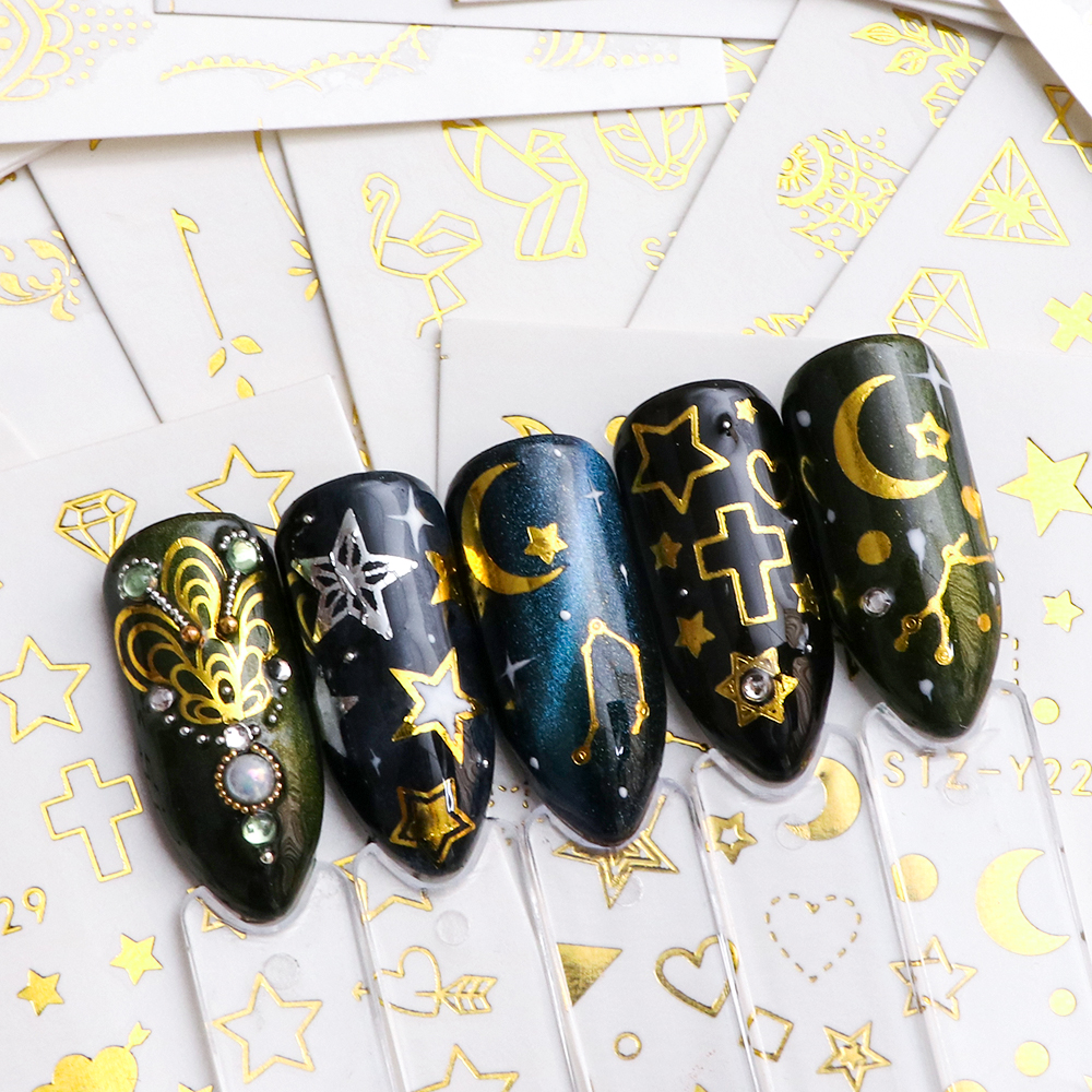Image 5 - Full Beauty 20pcs Water Nail Sticker Gold Flower Vine Diamond Necklace Gel Polish Slider Accessories Nail Art Decals Sets CHYY20-in Stickers & Decals from Beauty & Health