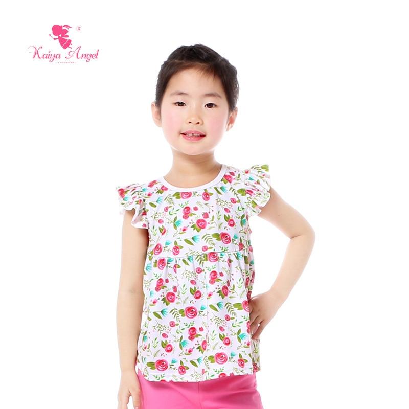 Kaiya Angel 2018 Kids T-shirt For Children Cartoon Flower Unicorn Elephant Giraffes Fly Sleeve Summer Baby Clothes  Tees 1-9T