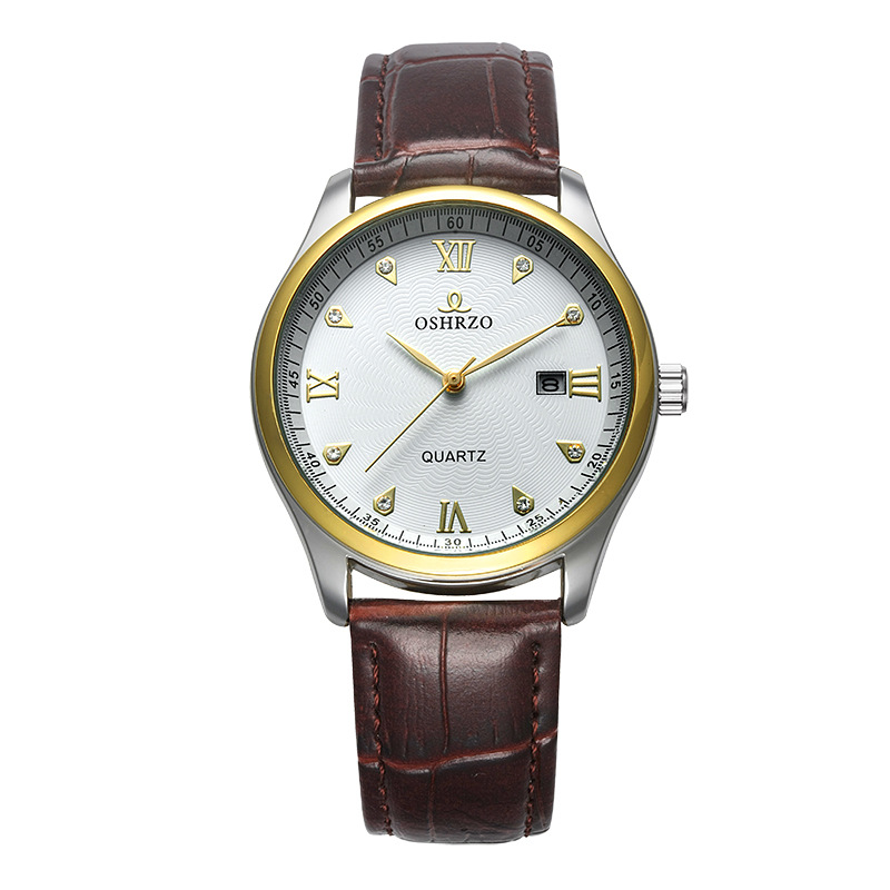 2018 New Scale With Leather Strap Casual Fashion Exquisite Precision High-end Couple Quartz Watch