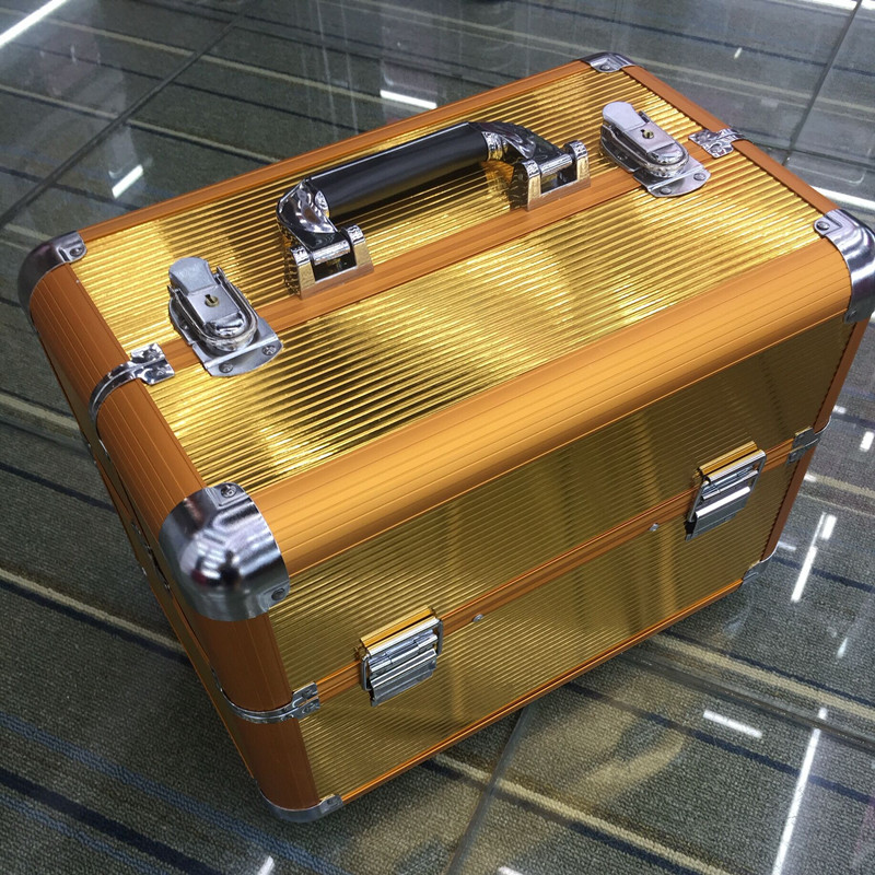 Professional Aluminium PVC Nail Toolbox Make Up Beauty Case Cosmetic Bag Multi Tiers Lockable Jewelry Box Gift Travel Suitcase