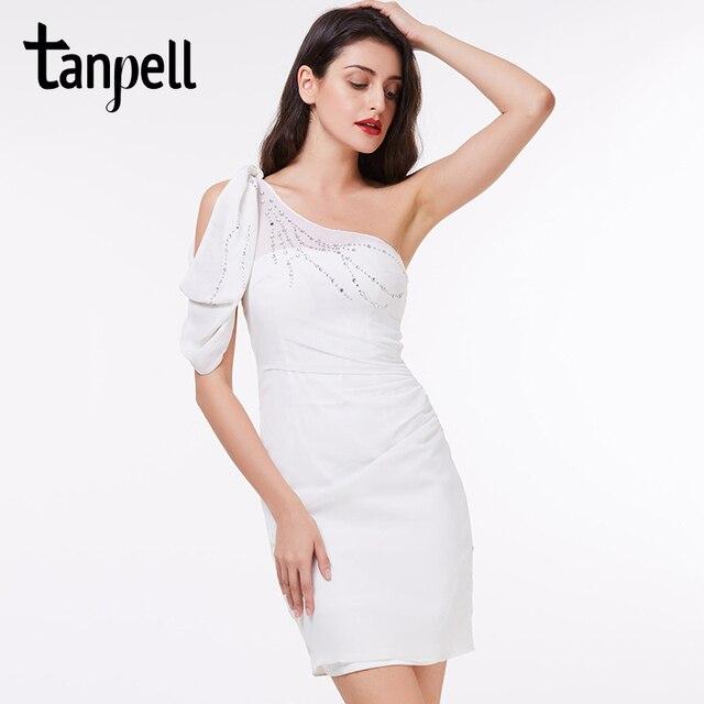 Tanpell ein schulter cocktailkleid elegante weiß über sleeveless ...