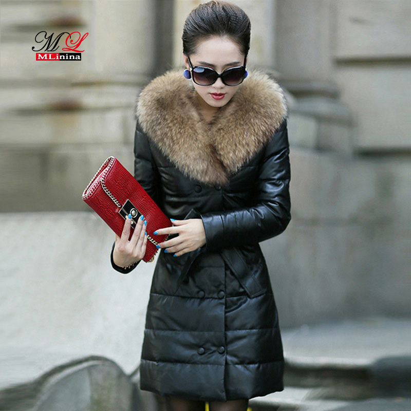 MLinina 2018 Fur Coat Hooded Fur Collar Sheep Skin Winter   Leather   Jackets Natural   Leather   Long Plus Size 5xl Cashmere Motorcycle