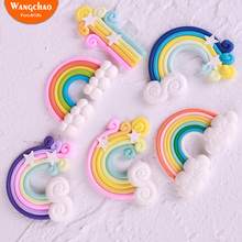 Colorful Fimo 3D Rainbow Clouds for Happy Birthday Cake Topper Wedding Decoration Wrapper Funny Party Cupcake Supplies