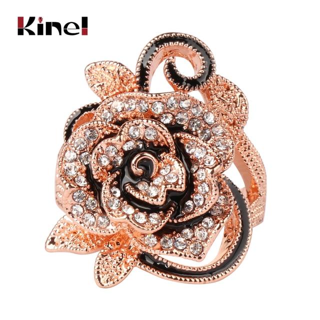 Kinel Luxury Crystal Flower Ring Rose Gold Vintage Jewelry Big Flower Shape Eleg
