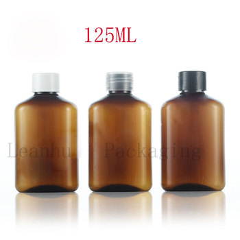 Empty PET Brown Lotion Cream Bottles With Screw Cap,125ML Refillable Shampoo,Shower Gel,Body Milk Cosmetics Packaging Container