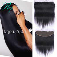 Riya Hair Brazilian Light Yaki Straight Hair Lace Frontal 13X4 Ear To Ear Free Part Remy Human Hair Closure Natural Color
