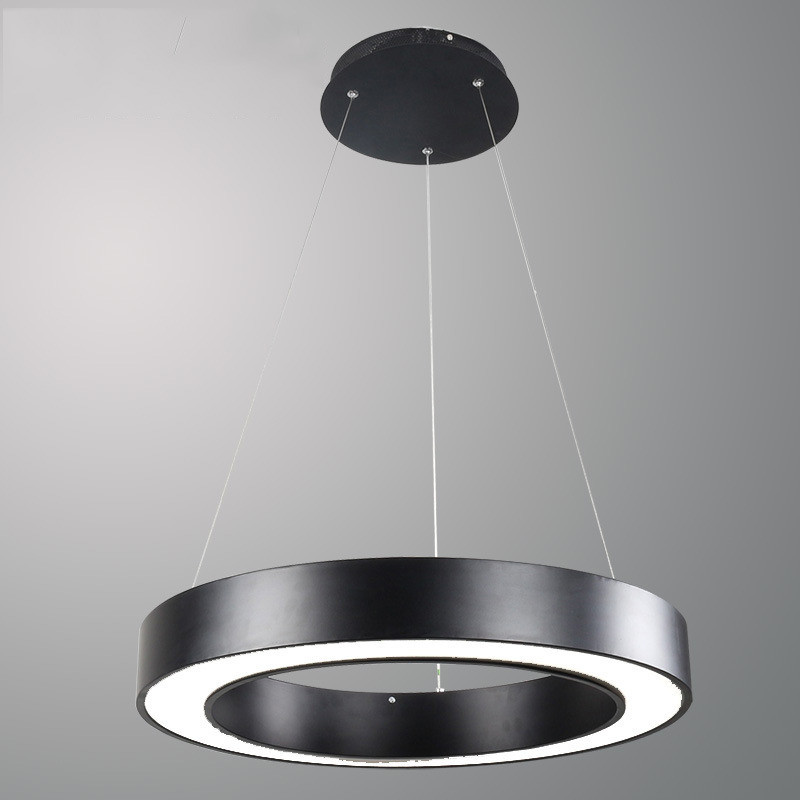 Modern Black White LED Pendant Light Round Circle Suspension Hanging Lamp for Office Home Decoration 40CM 60CM 80CM Droplight