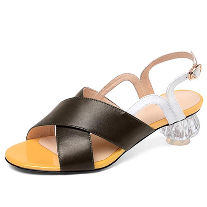 MORAZORA 2019 grande formato 46 sandali di cuoio genuino scarpe da donna colori misti sandali estivi tacchi di cristallo del partito del vestito scarpe donna-in Scarpe col tacco medio da Scarpe su  Gruppo 2