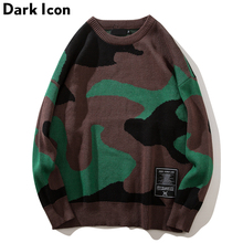 DARK ICON Camouflage O-neck Loose Style Men's Sweater 2018 Autumn High Street Sweater Men Camo Sweater