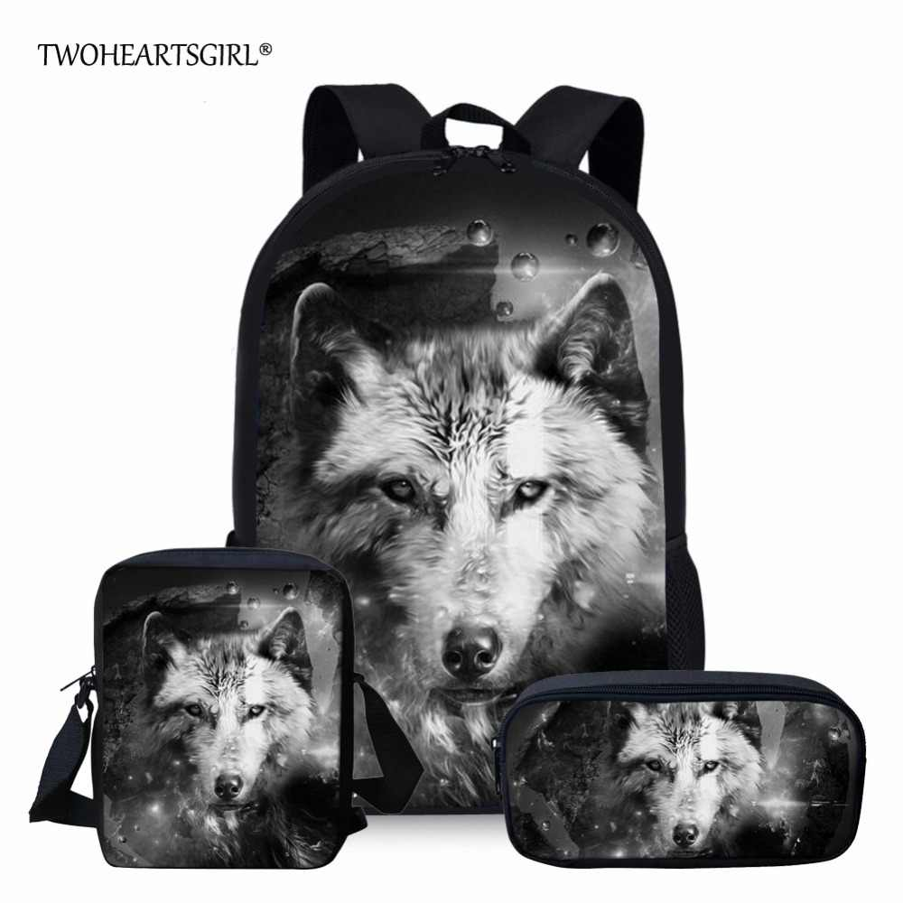 Twoheartsgirl Cool School Bag Set 3d Wolf Print School Backpack for Teenager Boys Orthopedic Kids Schoolbag Animal Bookbags