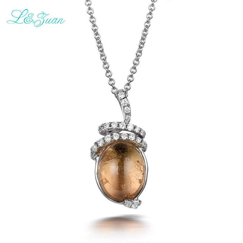 купить Schmuck S925 Silver Brown Tourmaline Fashion Pendants Necklaces Jewelry Classic For Woman Gift Send a S925 Silver Necklace по цене 5729.99 рублей