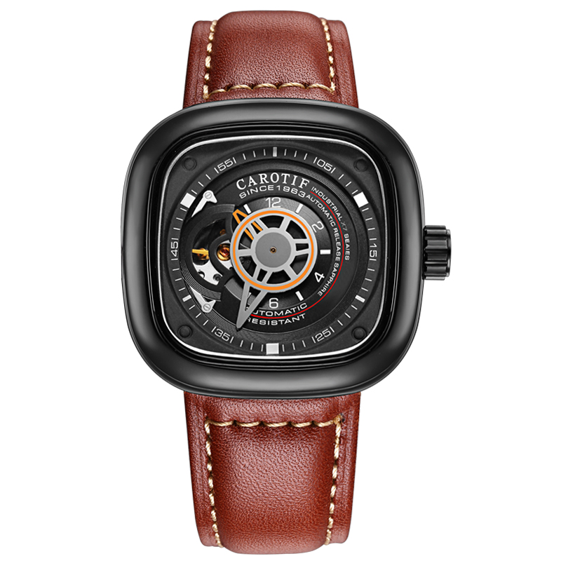 Carotif casual læder mekanisk ure - Mænds ure - Foto 3
