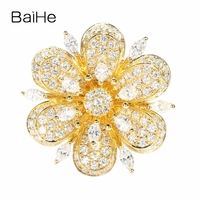 BAIHE Solid 14K Yellow Gold Certified H/SI SI3 Marquise & Round Cut 100% Genuine Natural Diamonds Women Trendy Fine Jewelry Ring