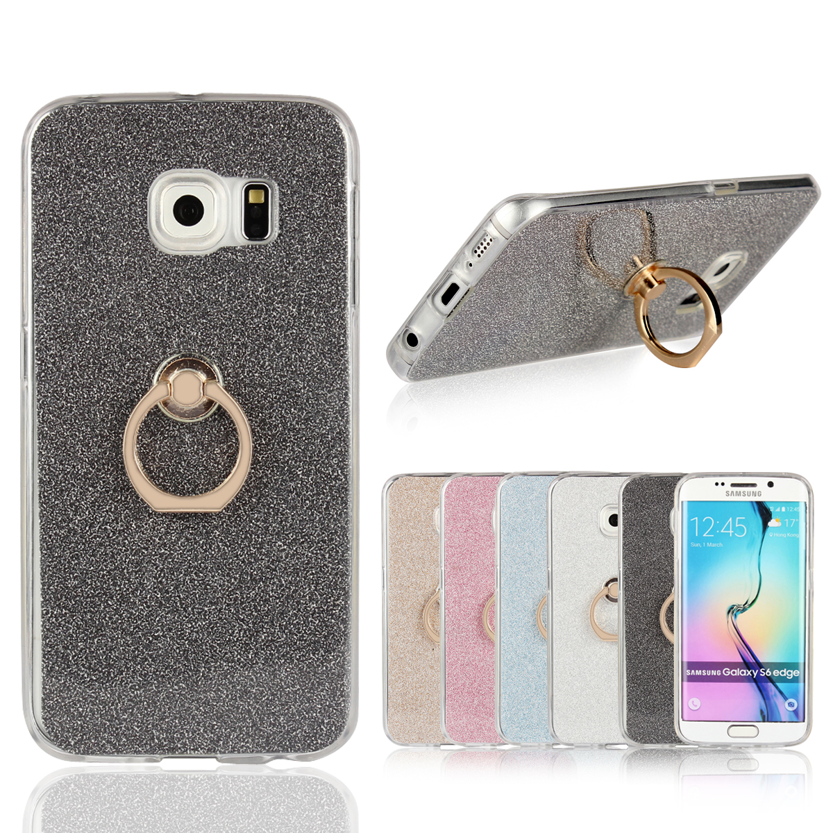 Case for Samsung Galaxy S6 edge Flash powder Case for Samsung S6edge SM-G9250 G925J/L/K/S/Z/T/F/FQ/I/R7 Finger buckle Phone bag