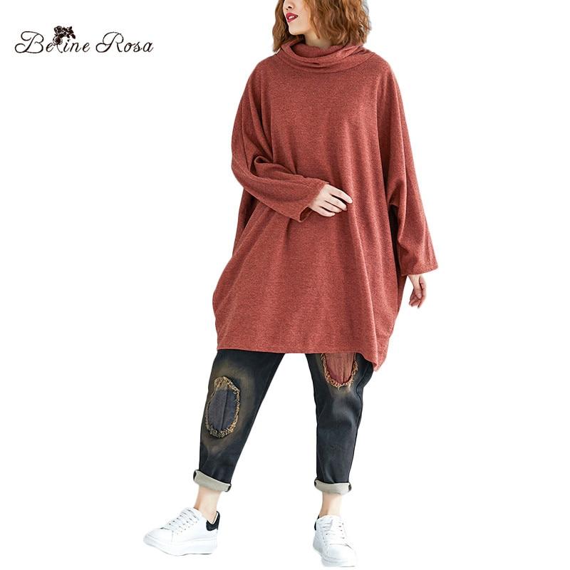 BelineRosa Plus Size Women Clothing Elegant Ladies Autumn Season Turtleneck Neck Simple Pure Color Oversized   T  -  shirts   TYW00910