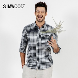 Image 2 - SIMWOOD Brand Casual Plaid Shirt Men 2020 spring Summer High Quality Shirts for men Plus Size High Quality Camisa Male 190164