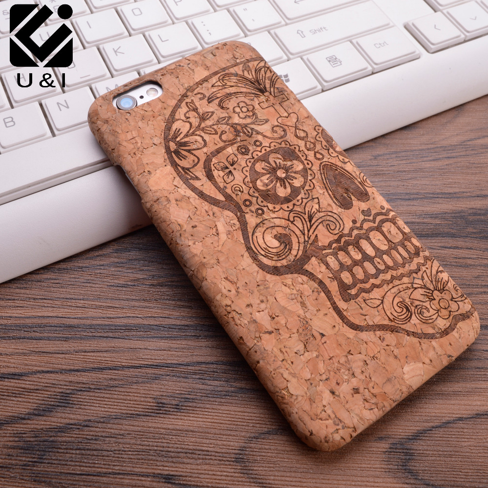 2017 U&I New Cork Wood Grain Design Soft TPU Fiber Crack Any Carvings Pattern Back Phone Cover for iPhone 5 5S SE 6 6S 7 7plus