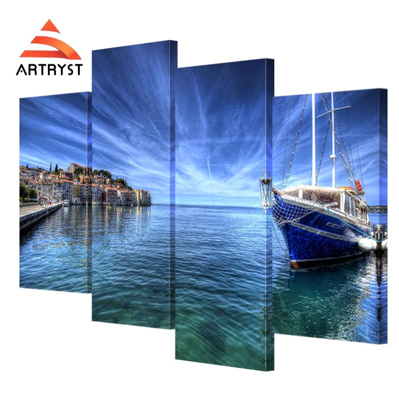 4 panel modular tepi laut perahu, arsitektur landscape poster HD - Dekorasi rumah - Foto 2