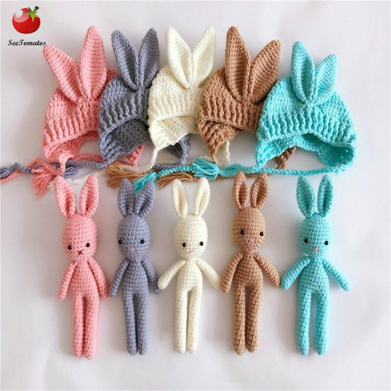 Recién Nacidos Props fotografía Crochet sombrero del bebé hecho a mano del conejo Props recién nacido bebé capó recién nacido estudio fotos Prop