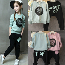 2pcs Kid Baby Girl Clothing Set Long Sleeve Print Cotton Sweatshirt Tops +Long Pants Outfits Children Girls