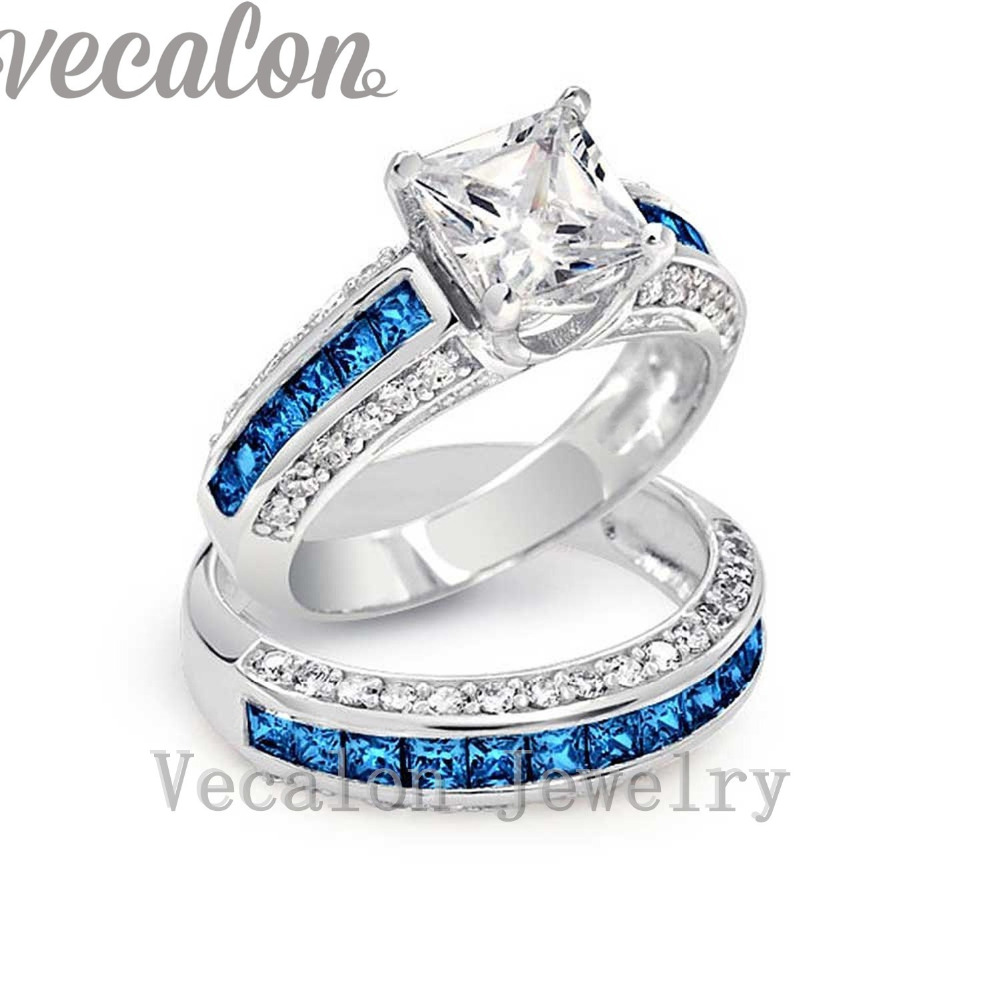 vecalon brand design tanzanite cz diamond wedding band ring set for women 10kt white gold filled