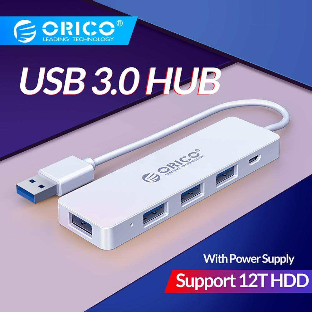 ORICO USB3.0 HUB 5Gbps 4 Ports Multi USB Splitter OTG Adapter With Power Supply Interface For PC MacBook Laptop Tablet Computer