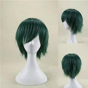 Image 2 - HAIRJOY włosy syntetyczne człowiek mięta zielona warstwowa krótka prosta męska peruka do Cosplay darmowa wysyłka 5 kolorów dostępne