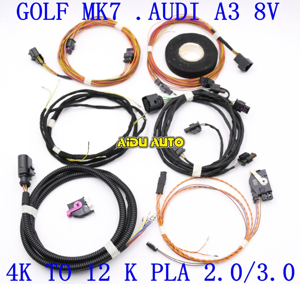 Auto Parking PLA 2.0 /3.0 4K To 12K Install Harness Wire For VW Golf MK7 Audi A3 8V use fit for golf 6 jetta mk6 auto intelligent parking assist 12k park assist pla 2 0 upgrade ops install harness wire
