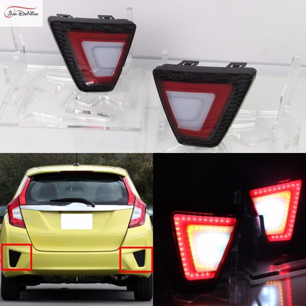 JanDeNing автомобиля LED задний бампер туман Лампа отражатель стоп-сигналы для Honda Джаз/Фит 2014-2016