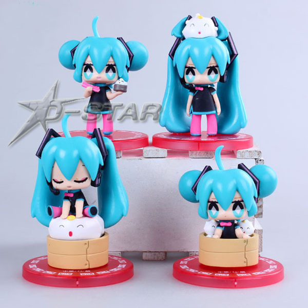 Free Shipping 4pcs Cute Vocaloid Miku Steamed Stuffed Bun Ver. Boxed PVC Action Figure Model Collection Toy Fift (4pcs per set) аксессуары для косплея steamed stuffed bun cosplay psycho pass ppcos