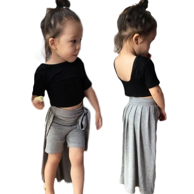 24M-6T Baby Girls Clothing Sets Black T-shirt and Grey Skirt 2Pcs/Sets Kids Clothes 2018 Summer Children Clothing Girls Costume pink and red children sets baby girls