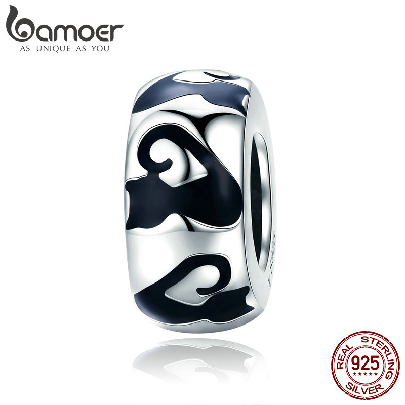 BAMOER Fashion 925 Sterling Silver Stackable Cat Long Nail Black Enamel Spacer Beads fit Charm Bracelet Bangles Jewelry SCC825 bamoer romantic new 925 sterling silver i love you forever engrave spacer beads fit charm bracelet & bangles diy jewelry scc595