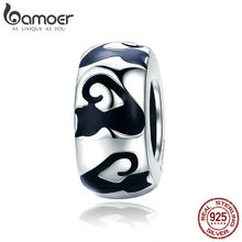 25e50726a BAMOER Fashion 925 Sterling Silver Stackable Cat Long Nail Black Enamel  Spacer Beads fit Charm Bracelet Bangles Jewelry SCC825