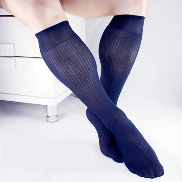 High Quality Men Nylon Silk Sheer Socks Solid Color Transparent Sexy Gay Mens Socks Business Socks For Leather Shoes